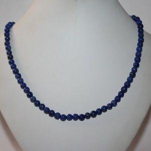 Jewelry - 14 k white gold lapiz beaded necklace